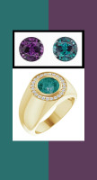 0000805 18K Yellow Gold H&A 24 Diamonds Round Alexandrite Bespoke Men's Ring