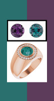 0000806 18K Rose Gold H&A 24 Diamonds Round Alexandrite Bespoke Men's Ring