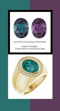 0000807 18K Yellow Gold H&A 30 Diamonds Oval 6.4 ct. Alexandrite Bespoke Men's Ring