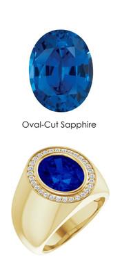 00004 18K Yellow Gold H&A 30 Diamonds Oval 6.5 ct. Blue Sapphire Bespoke Men's Ring
