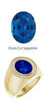00004 18K Yellow Gold H&A 30 Diamonds Oval 6.5 ct. Blue Sapphire Bespoke Men's Ring