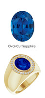 00006 18K Yellow Gold H&A 28 Diamonds Oval 4.8 ct. Blue Sapphire Bespoke Men's Ring