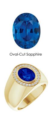 00007 18K Yellow Gold H&A 26 Diamonds Oval 3.8 ct. Blue Sapphire Bespoke Men's Ring