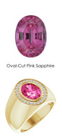 0000701 18K Yellow Gold H&A 26 Diamonds Oval 3.8 ct. Pink Sapphire Bespoke Men's Ring