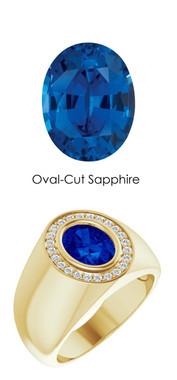 00008 18K Yellow Gold H&A 24 Diamonds Oval 2.6 ct. Blue Sapphire Bespoke Men's Ring