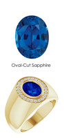 00008 18K Yellow Gold H&A 24 Diamonds Oval 2.6 ct. Blue Sapphire Bespoke Men's Ring