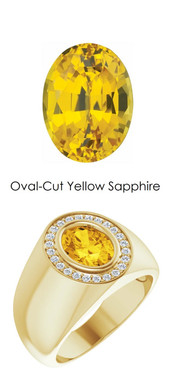 0000702 18K Yellow Gold H&A 24 Diamonds Oval 2.6 ct. Yellow Sapphire Bespoke Men's Ring