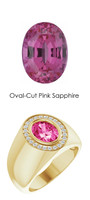 0000703 18K Yellow Gold H&A 24 Diamonds Oval 2.6 ct. Pink Sapphire Bespoke Men's Ring