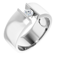 000010577 Platinum 9mm Wide Wedding Band, Certified Round Diamond Center Bespoke Men's Ring