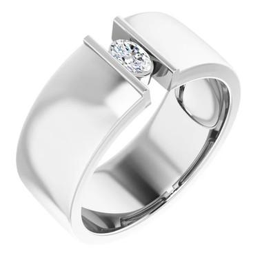 000010578 Platinum 9mm Wide Wedding Band, Oval-Cut Diamond Center Bespoke Men's Ring