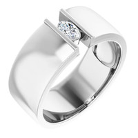 000010578 Platinum 9mm Wide Wedding Band, Oval-Cut Diamond Center Bespoke Men's Ring