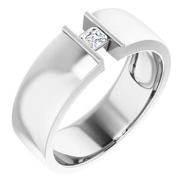000010579 Platinum 9mm Wide Wedding Band, Asscher-Cut Diamond Center Bespoke Men's Ring