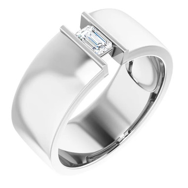 000010580 Platinum 9mm Wide Wedding Band, Emerald-Cut Diamond Center Bespoke Men's Ring