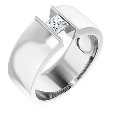 000010581 Platinum 9mm Wide Wedding Band, Square-Cut Diamond Center Bespoke Men's Ring
