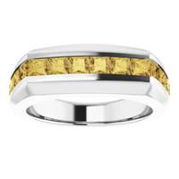 000010582 Platinum Yellow Square-Cut 2.3 Ct. Diamond Men's Band Ring