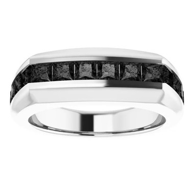 000010583 Platinum Opaque Black Square-Cut 2.3 Ct. Diamond Men's Band Ring
