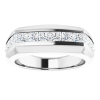000010584 Platinum Square-Cut 2.3 Ct. Colorless Diamonds Men's Band Ring