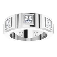 000010585 Platinum Square-Cut 3.1 Ct. Colorless Diamonds Men's Band Ring