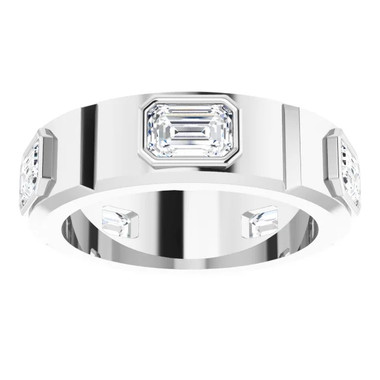 000010586 Platinum Emerald-Cut 3.75 Ct. Colorless Diamonds Men's Band Ring