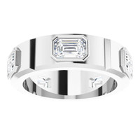 000010586 Platinum Emerald-Cut 3.75 Ct. Colorless Diamonds Men's Band Ring