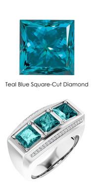 000010587 GuyDesign® Platinum Mens 3 Square-Cut 3.6 Ct. Important Teal Blue Diamond Ring