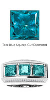 000010587 GuyDesign® Platinum Mens 3 Square-Cut 3.6 Ct. Important Teal Blue Diamond Ring