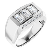 000010588 GuyDesign® Platinum Mens 3 Emerald-Cut 1.5 Ct. Diamond Ring