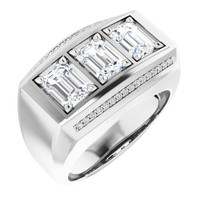 000010590 GuyDesign® Platinum Mens 3 Emerald-Cut 3 Ct. Important Diamond Ring