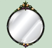"Classic Elements, 34.5"" Round Shape Beveled Glass Reproduction Mirror, Custom Finish 6084 - Round Mirror - Custom Finish"