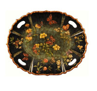 Luxe Life Hand Painted Hardwood, Oval 27L X 22W Display or Serving Tray, Scalloped Edge
