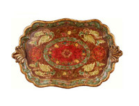 Luxe Life Hand Painted Hardwood, Swan Display or Serving Serpentine Tray, 30L X 18W