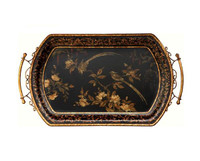 Luxe Life Hand Painted Hardwood, Scrolled Wrought Iron, Dark Chinoiserie Display or Serving Tray, Cushion Shape 31L X 18W