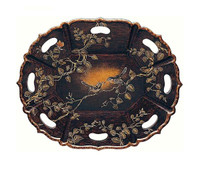 Luxe Life Hand Painted Hardwood, Oval 28 Inch Display or Serving Tray, Scalloped Edge