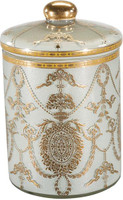 Luxe Life Finely Finished Hand Painted Glass, 7t x 4.5dia. Decorative Container