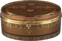 Luxe Life Finely Finished Hand Painted Glass and Gilt Bronze Ormolu, 6 Inch Trinket Box