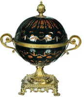 "Finely Finished Cobalt Blue Cut Glass and Gilt Bronze Ormolu, 12"" Decorative Globe Container - Luxe Life Brand"