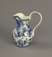 Blue and White Porcelain Transferware Decorative Pitcher - 6w X 4d X 7.5t