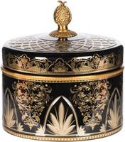 "Luxe Life Finely Finished Ebony Black Cut Glass and Gilt Bronze Ormolu, 8"" Round Decorative Box"