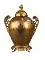 Luxe Life Finely Finished Hand Painted Glass and Gilt Bronze Ormolu, 9 Inch Tabletop | Mantel Urn