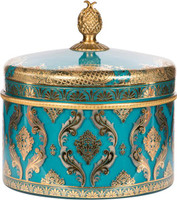 Blue and Gold - Finely Finished Hand Painted Glass and Gilt Bronze Ormolu, 8 Inch Decorative Covered Box - Luxe Life