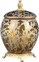 Luxe Life Finely Finished Amber Etched Glass and Gilt Bronze Ormolu, 10 Inch Covered Box