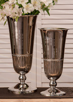 Indian Brass, 15.25 Inch Fluted Tabletop Vase, Polished Nickel Finish
