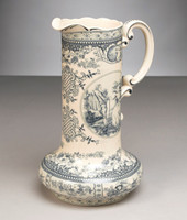 Blue and White Porcelain Transferware Decorative Pitcher | Vase - 14t x 10w x 8.5d