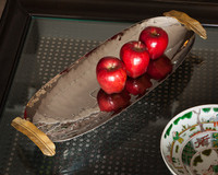 Forged Metal and Indian Brass, Oval Decorative   Serving Tray, Polished Nickel and Bronze Finish, 18L X 7.5w, Set of Two