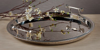 Indian Brass, 21.5 Inch Round Decorative   Serving Tray, Polished Nickel Finish