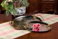 Forged Metal and Indian Brass, Oval Decorative   Serving Tray, Polished Nickel and Bronze Finish, 24L X 15w