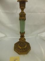 Lyvrich Fine Handmade d'oro Ormolu Elegant Porcelain - French Neo Classical, Louis Seize Candlestick Pair - Celadon Minuscule Crackle - 16t X 6.25w X 7d