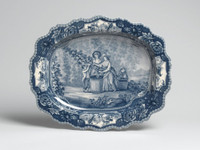 Blue and White Porcelain Transferware Decorative Plate | Platter | Toile, Women and Child Design | Scenic Countryside | Floral Serpentine Edge - 17d X 20.5L x 2t