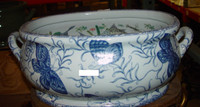 Style 591 - Blue and White Butterfly - Luxury Handmade Chinese Porcelain - 22 Inch Large Foot Bath | Centerpiece | Planter - Style 591