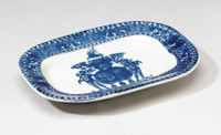 Blue and White Porcelain Transferware Decorative Plate | Platter | Crest Design | Antique Cushion Shape - 1.5t X 11L X 8d
